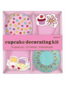 Kit Cupcake Decoração (24 cups + 24 picks)