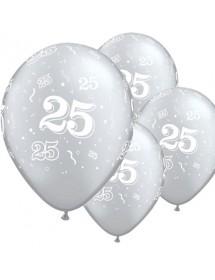 Balões Nº 25 (pack 6 prateados) 28cm