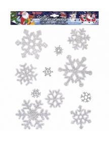 Autocolantes Decorativos Flocos Neve Glitter