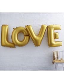 """Balões Foil """"LOVE"""" Dourado"""