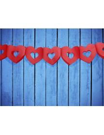 Grinalda Papel Corações (3 metros) Vermelho