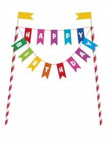 Decoração Bolo Grinaldas Happy Birthday