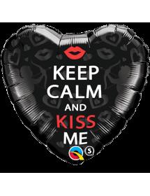 Balão Foil Keep Calm And Kiss me ( 46cm )