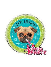 Balão Foil Pug Happy Birthday