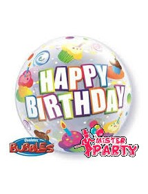 Balão Bubble Happy Birthday Cakes