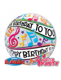 Balão Bubble Happy Birthday Notas Musicais