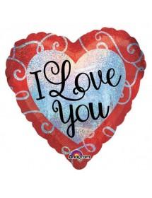 Balão Foil Coração I Love You Brilhante