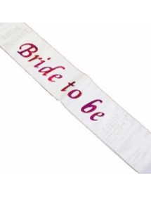 Faixa Bride to Be Branca com Brilhantes