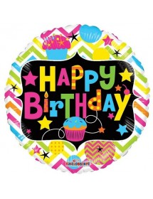 Balão Foil Happy Birthday Neon