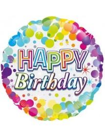 Balão Foil Happy Birthday ( Pintas )