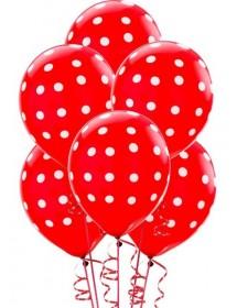 Balões Vermelhos Bolinhas ( Pack 6 )