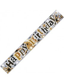 Banner Happy Birthday Dourado e Pratedado(2,70m)
