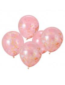 Balão C/Confetis (Estrelas Pastel) Pack 5