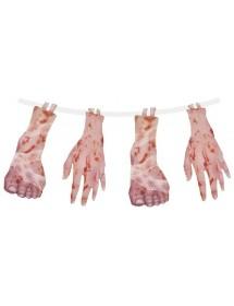 Grinalda Halloween Pés e Mãos Sangue