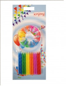 Velas Enjoy Multicor C/ Suporte Pack 12