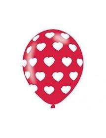 Balões Latex C/ Corações ( Pack 6 )
