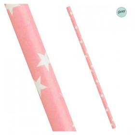 Palhinhas Papel Estrelas Rosa Claro (pack 25)