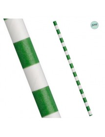 Palhinhas Papel Faixas Verde (pack 25)