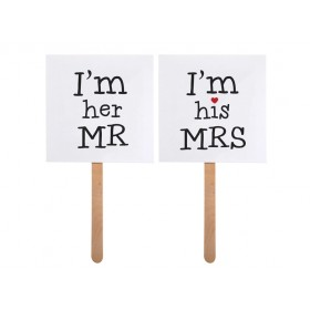 Photo Booth I'm His Mrs / I'm Her Mr (pack 2)