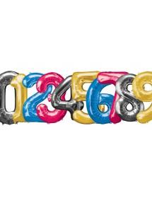 Balão Número Foil 86cm (0-9) Silver