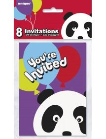 Convites Panda (pack 8)