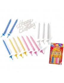 Velas Happy Birthday (Pack 12 Velas)