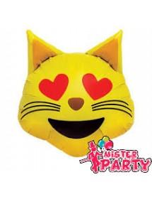 Balão Foil Emoji Gato Apaixonado