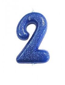 Vela Glitter Número Azul