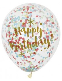 Balões Transparentes c/confetis Happy Birthday