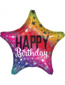 Balão Foil Happy Birthday Estrela 48cm