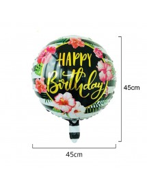 Balão Foil Redondo Flores Happy Birthday