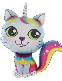 Balão Foil Gato Arco-íris