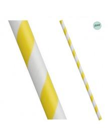 Palhinhas Papel Riscas Amarelo (pack 25