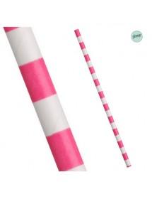 Palhinhas Papel Faixas Rosa (pack 25)